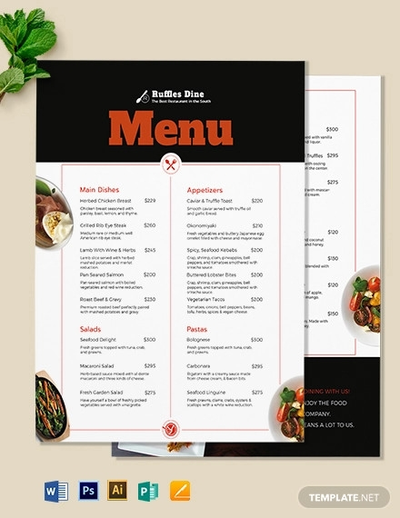 printable dinner menu template