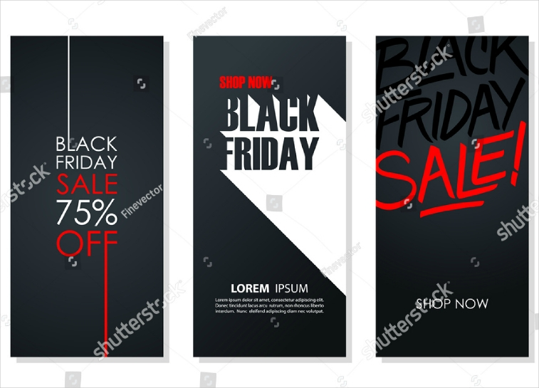 Set of Three Stunning Black Friday Flyer Design