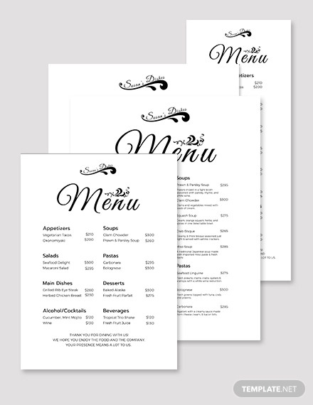 simple dinner menu template