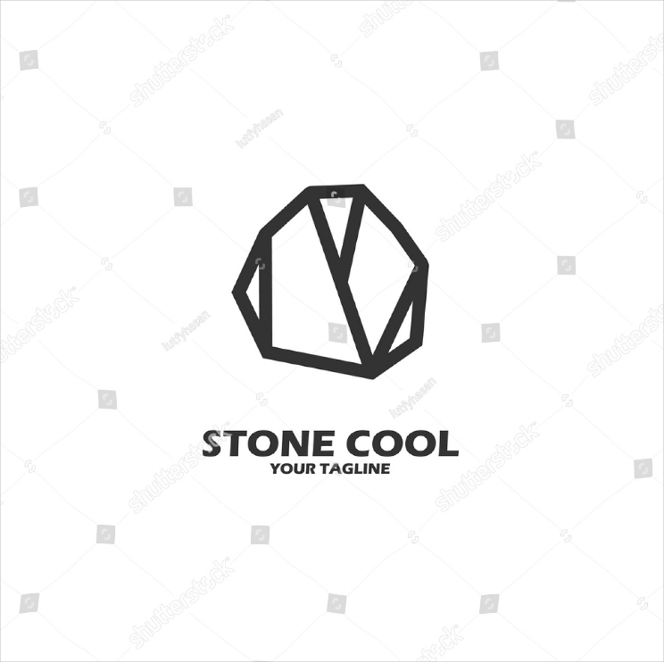 stone cool flat logo design