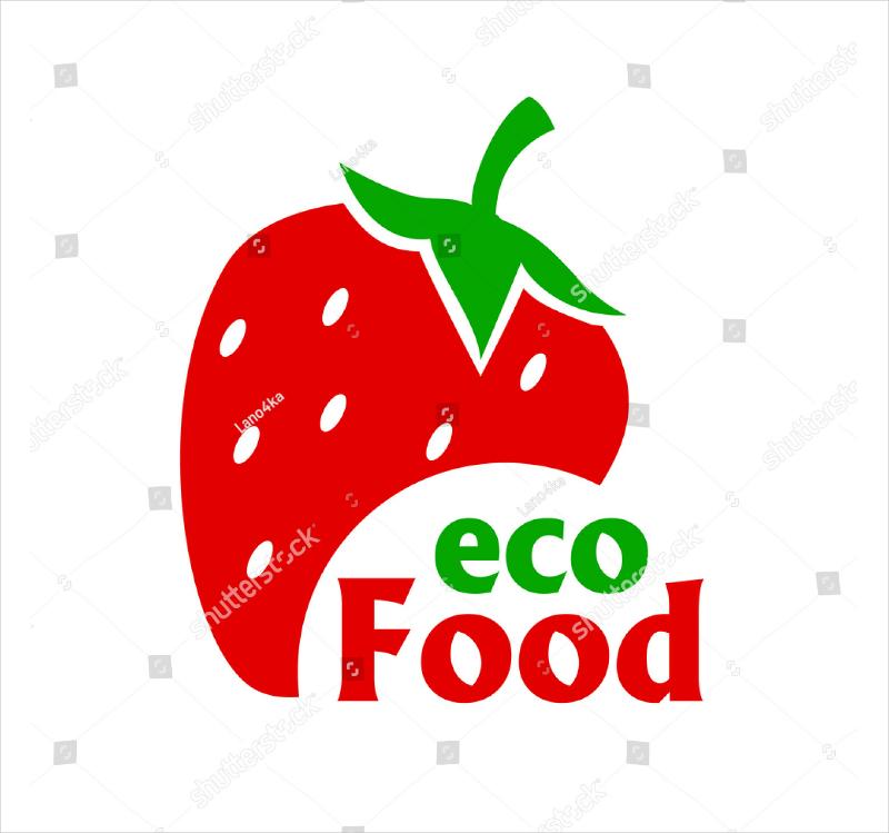 Strawberry Eco Food Modern Logo Design