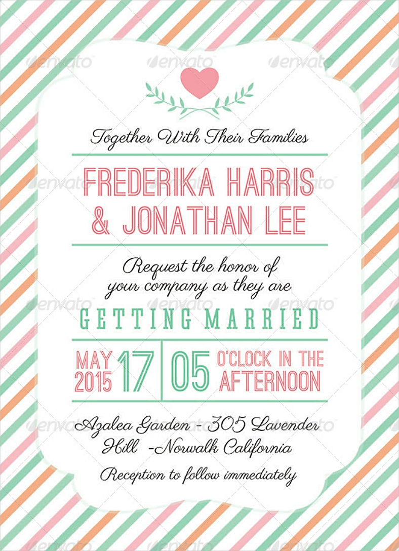 Striped Wedding Invitation in PSD
