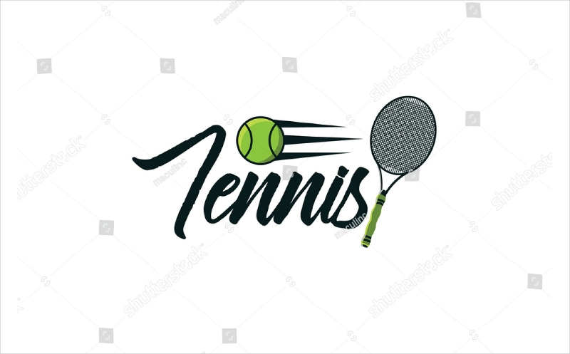 tennis racket and ball text logo design