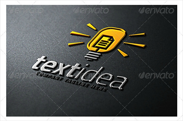 text idea light bulb logo design
