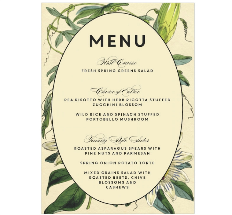 Vintage Botanical Themed Dinner Menu Design
