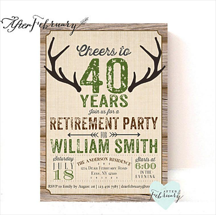 Deer Antlers Rustic Retirement Party Invitation Design