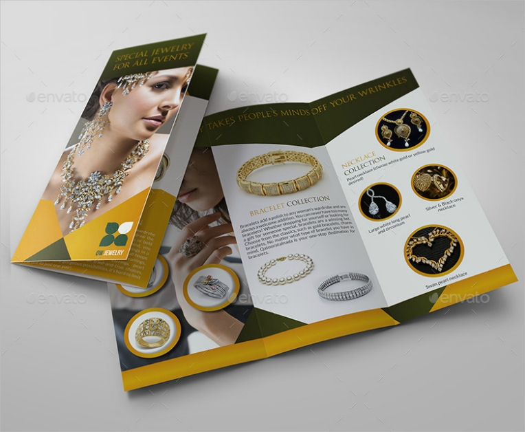 Elegant Trifold Jewelry Catalog Design
