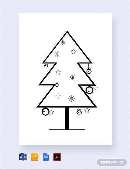 free bare christmas tree template for school