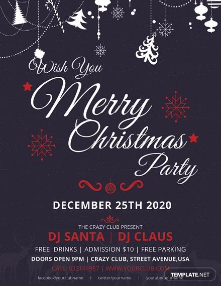free elegant merry christmas flyer
