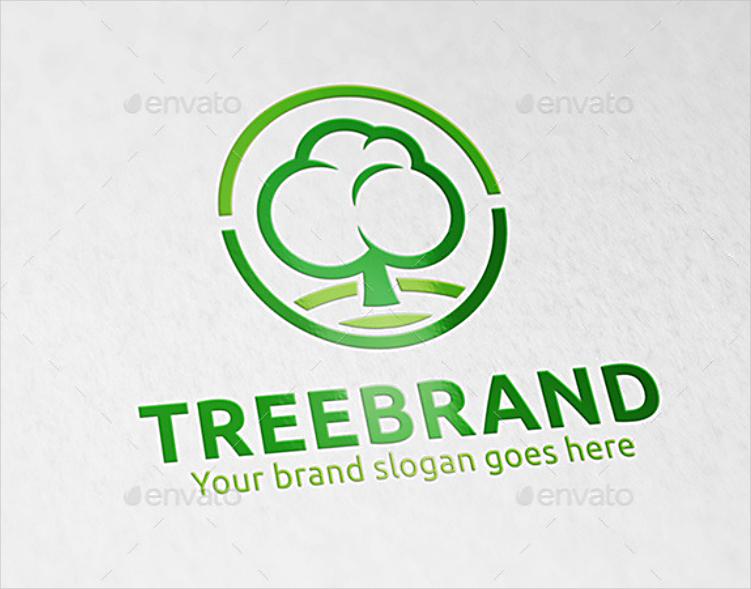 Green Line Art Tree Brand Logo Design