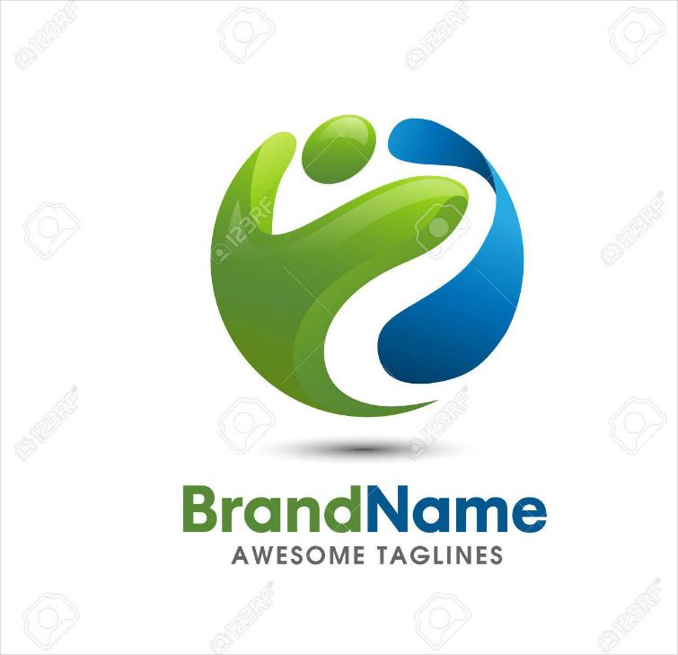 Modern Spherical Health and Fitness Brand Logo Design