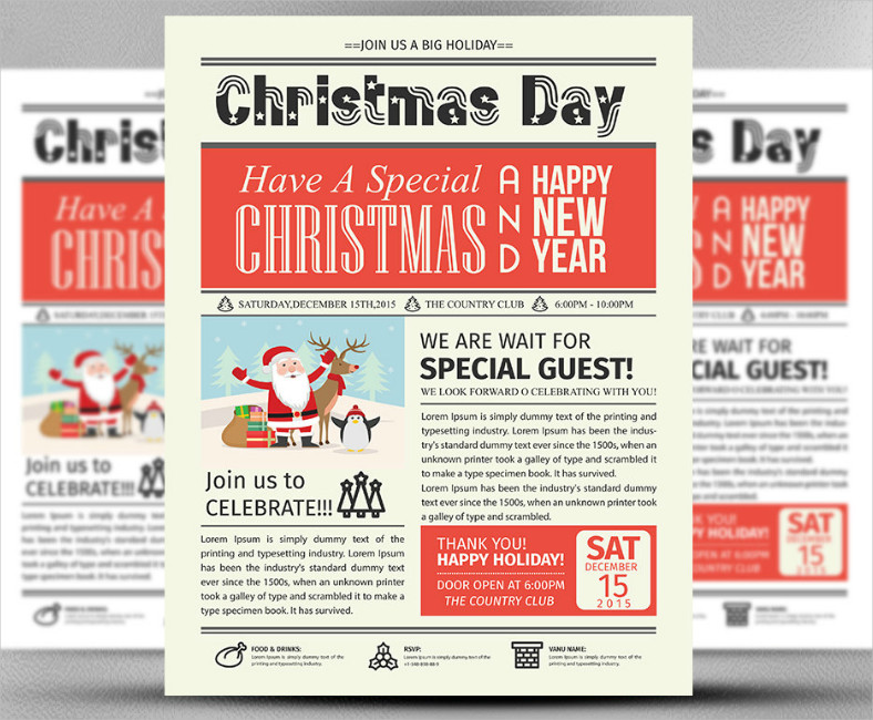 Newspaper Headline Christmas Flyer Design