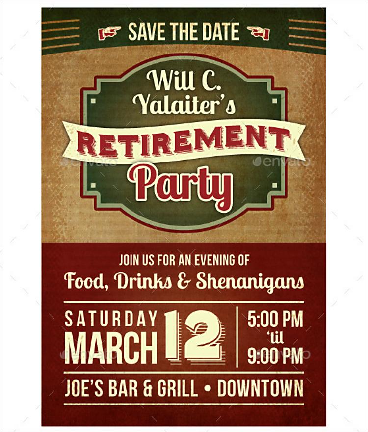 Retro Contrast Retirement Party Invitation Design