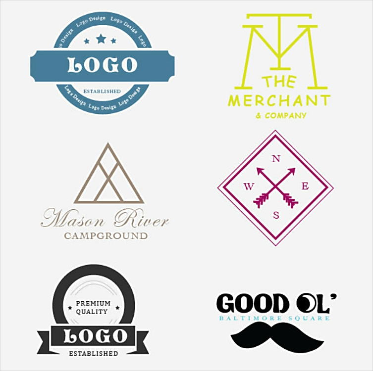 Set of Six Artistic Personal Logo Designs