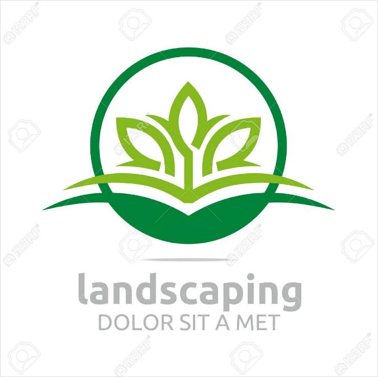 Symbolic Green Leaves Landscaping Brand Logo Design