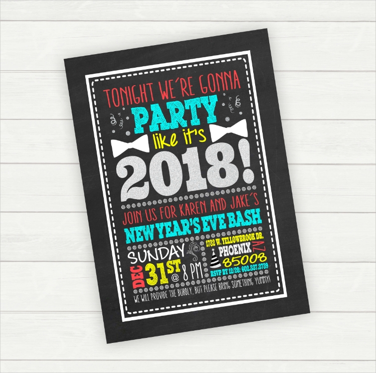 Typographic Chalkboard New Year Party Invitation