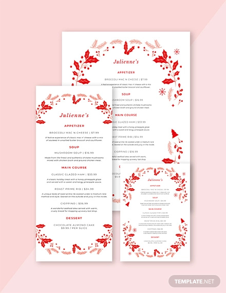 vintage christmas menu template