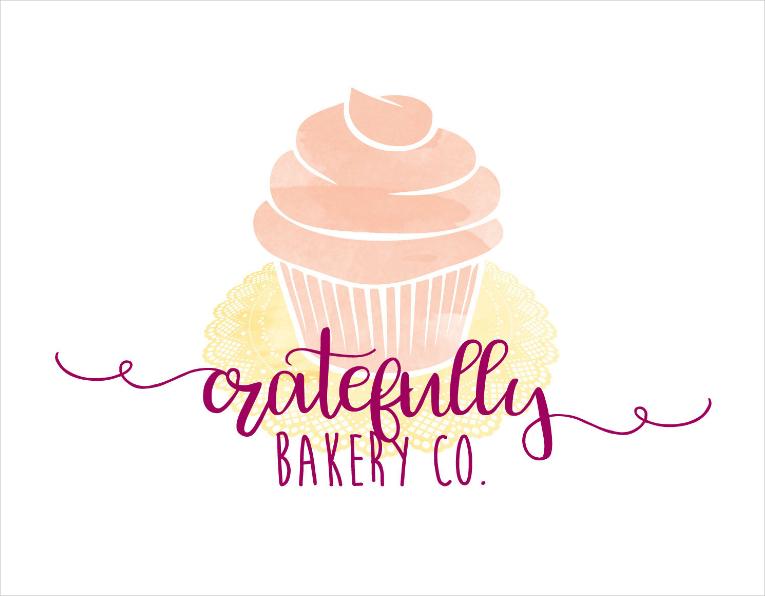 Watercolor Cupcake Personal Logo Design