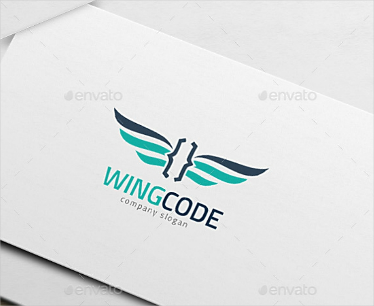 winged code company website logo design