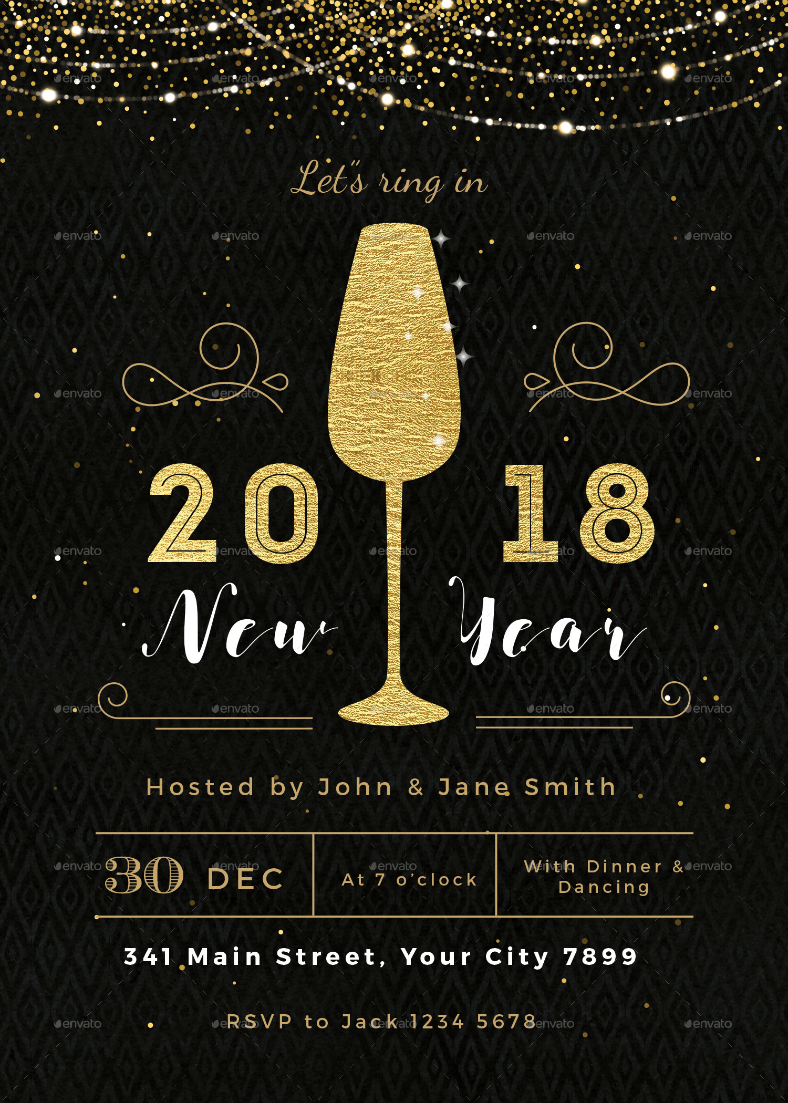 sparkly champagne glass new year invitation new years eve invitation