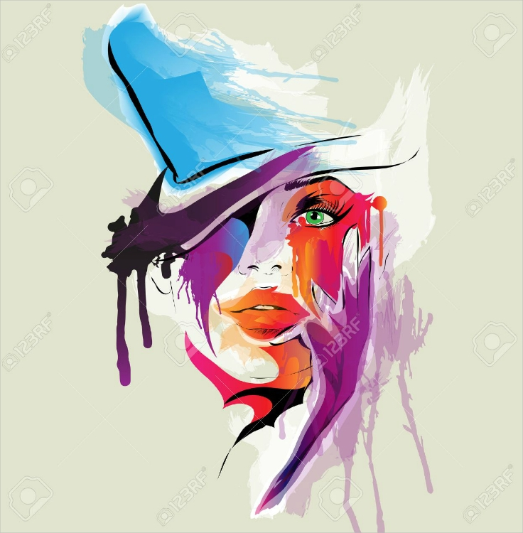 Beautiful Female Portrait Abstract Illustration Design