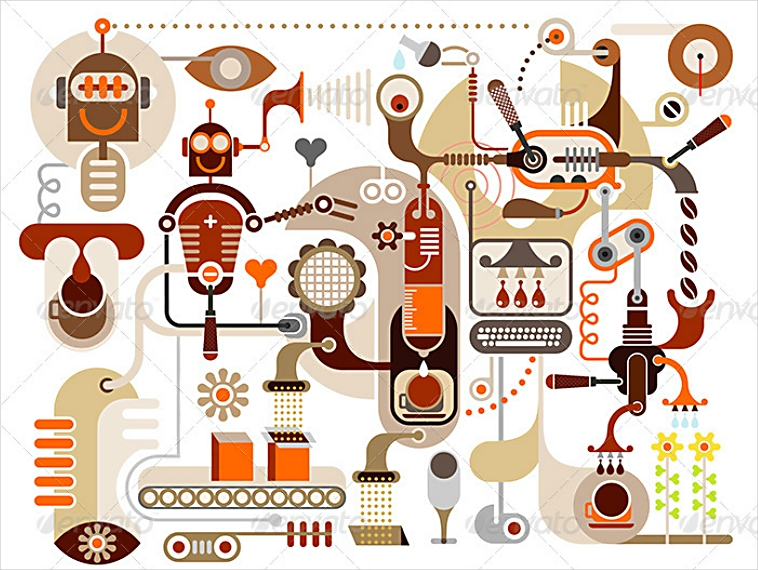 Coffee-Making Process Abstract Illustration Design