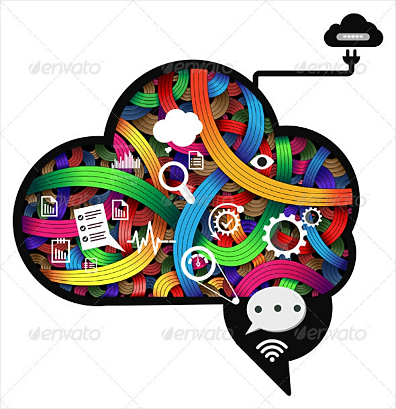 Colored Lines Thinking Brain Abstract Illustration