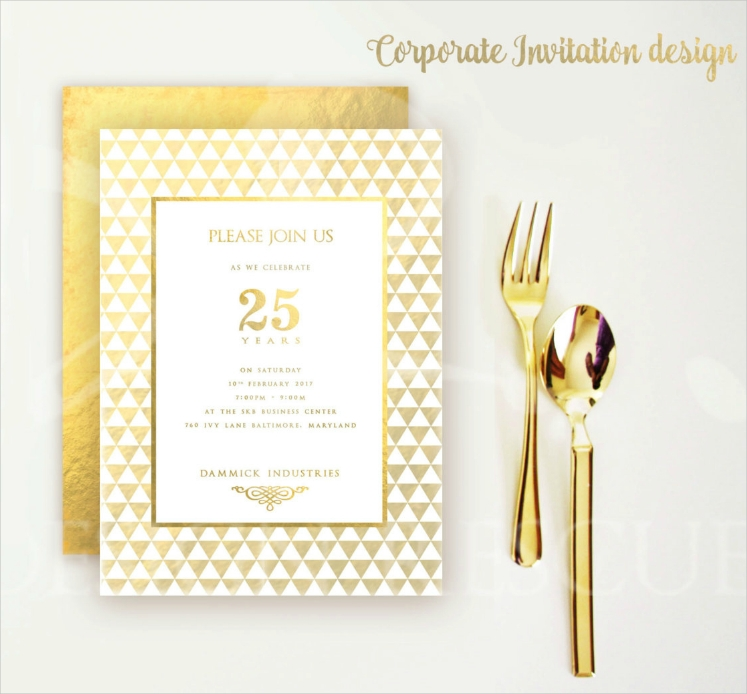 Golden Luxurious Pattern Corporate Invitation Design