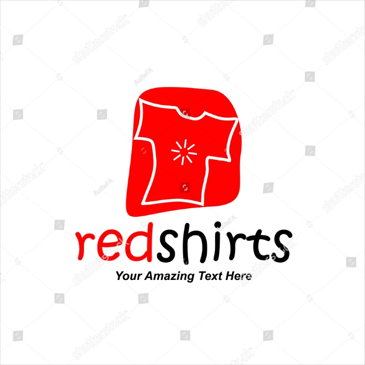 hand drawn red shirt logo design