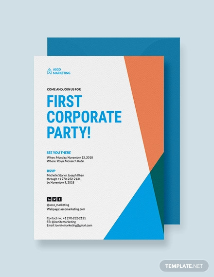 corporate party invitation example
