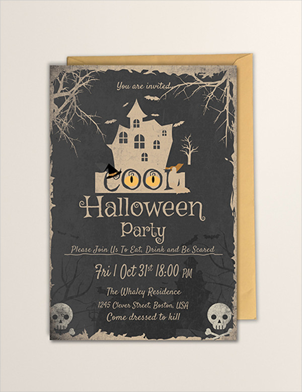 free cool halloween party invitation template