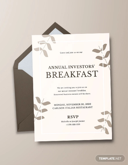 sample corporate breakfast invitation