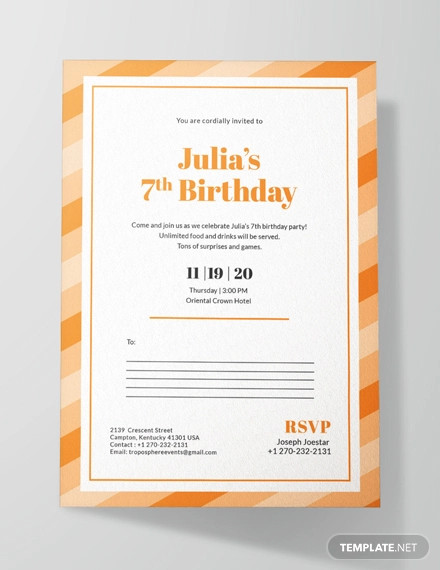 birthday postcard invitation